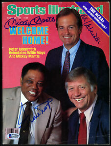 Mickey Mantle, Mays & Ueberroth Autographed Sports Illustrated Beckett A60527