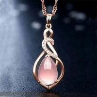 Women Rose Gold Plated Opal Crystal Pink Pendant Necklace Chain Jewelry Gift