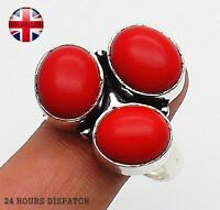 Red Coral  925 Sterling Silver Overlay Hand Made Ring  US Size 8 JD13399