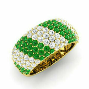 1.32 Ct Real Diamond Green Emerald Bands 14K Solid Yellow Gold Size L1/2 M N O P
