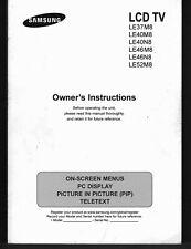 Handbuch Bedienungsanleitung Manual f.Samsung Fernseher LCD TV LE37M8,LE40M8 etc