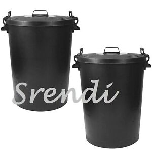 2 x  Black Plastic dustbin heavy Duty west Bin gardenWith LockLid STORGE 110L