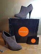 Karen Millen Suede Designer Ankle Boots Size 4 Grey Studded Excellent (W5)