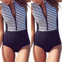 Damen Push Up Bikini Einteiler Badeanzug Monokini Strand Bademode Schwimmanzug