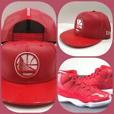 New Era Warriors Red Faux Leather snapback hat for Jordan 11 Gym Red