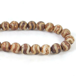 """Tibetan agate gemstone 6-12mm spacer beads strand 15"""" matte fire cracle smooth"""