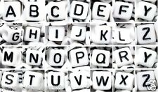 50 /100pcs 6mm white cube single/mixed (random) alphabet letter acrylic beads