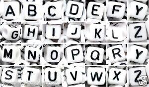 50 /100pcs 6mm white cube single&mixed (random) alphabets letters acrylic beads