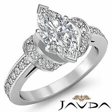 Marquise Pave Set Antique Diamond Engagement Ring GIA G SI1 14k White Gold 1.5ct