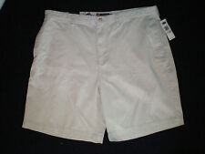 NWT NEW mens size 42 stone khaki CHAPS flat front chino shorts free shiping $39