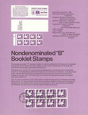 18c B STAMP BOOKLET PANE 1981 SOUVENIR PAGE SCOTT # 1819a SP485 FDC