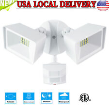 2*10W 1600Lm Led Dual Head Pir Motion Sensor Light Security Floodlight Lamp