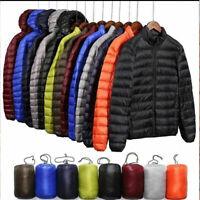 Packable Men's Lightweight Hooded Duck Winter Coat Down Jacket Puffer Outerwear
