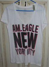 Women's AMERICAN EAGLE Large V Neck Cotton Blend T-shirt NEW YORK CITY White