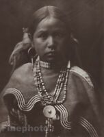 1900/72 EDWARD CURTIS Native American Indian Apache Girl Photo Gravure Art 11x14