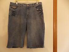 Faded Glory Stretch Woman's denim embellished blue jean shorts 16W