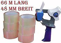 1 Abroller + 12 Rollen Klebeband Packband Packetband 66m Lang 48mm BREIT (1)