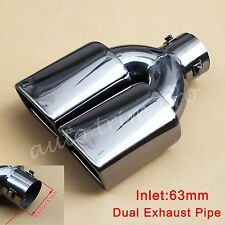 63mm 2.5inch Universal Tail Muffler Rear Exhaust Silencer Pipe Tip Dual Outlet