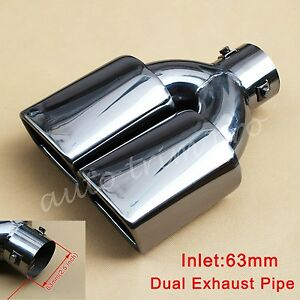 63mm 2.5 inch Universal Tail Muffler Rear Exhaust Silencer Pipe Tip Dual Outlet