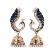 Retro Kundan Indian Bollywood Peacock Jhumka Jhumki Drop Earrings Gypsy Jewelry
