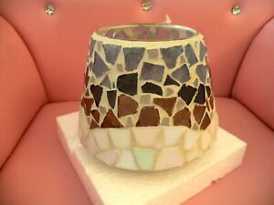 HOME INTERIORS Retired Mosaic Candle Shade Topper Multi-Color Blue