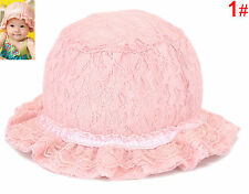 Baby Girl Sweet Pink Soft Outdoor Summer Lace Bonnet Beanie Sun Hat Cap Gift