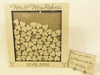 Personalised wedding guest book heart drop box wooden 104 hearts keepsake gift