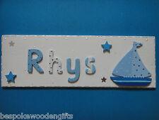 Wooden Name Plaque Door Wall Children BOYS Bedroom New Baby Nursery Decor Gift