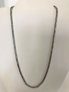 """Sterling Silver BALI BYZANTINE Chain Necklace/Bali 18"""" -Antiqued-Handcrafted"""