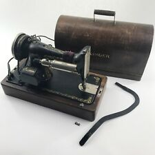 SINGER SEWING MACHINE Portable Knee Operated Vintage Antique Wood Dome Case 1926