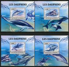 Burundi 2013 MNH Dolphins Dusky Dolphin 4x 1v Deluxe S/S Marine Animals Stamps