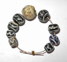 9 ROMAN to BYZANTINE ERA - ANCIENT GLASS BEADS - circa 400 AD - Wave pattern