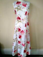 Laura Ashley Poppy Dress Size 14 fits 12 White Floral Midi Smart Summer Wedding