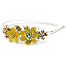 Yellow Rhinestone Flowers Design Head Jewelry Headband Head Piece Hair Band