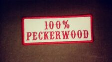 100% Peckerwood Patch, Colors are  Red & White Name Tape 1%er Patch Biker