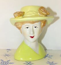 Vintage Woman Wearing Yellow Hat Ceramic Head Bust Figurine Collectible Gift
