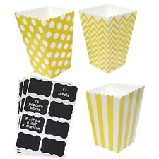 24 Yellow Paper Popcorn Treat Boxes with Vinyl Chalkboard Labels