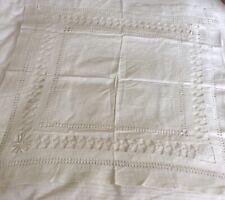 "Vintage LINEN Off White Tablecloth. 29"" x 29"""