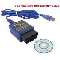 ELM 327 Car Diagnostic fault code reader V1.5 USB CAN-BUS Scanner Software OBD2