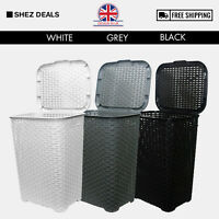 60L Large Laundry Basket Washing Clothes Storage Bin With Lid Grey White Black