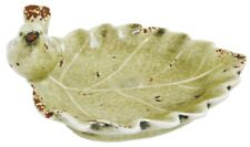 Rustic Green Ceramic Leaf Soap Holder Dish with Bird