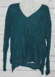 Sno Skins Women's Sweater Green Textured V-Neck Long Sleeve Lace Trim Size Small