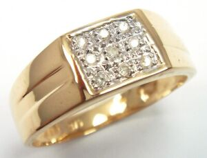 SYJEWELLERY NICE 9CT SOLID YELLOW GOLD 9 NATURAL DIAMONDS MEN RING SIZE P R1152