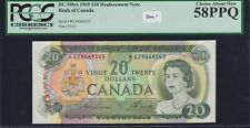 1969 Bank of Canada $20 Replacement Note - PCGS AU58PPQ - S/N: *EZ9469343