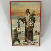Vintage Postcard Christmas 1988 Santa Claus Ol Saint Nick Greetings Repro