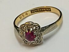 18CT Yellow Gold and Platinum Ruby and Diamond Ring 54mm UK Size N
