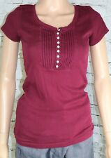 AEROPOSTALE maroon Knit top Buttons Stretch Short Sleeve Size Large EUC
