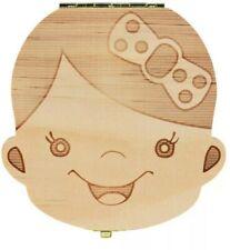 Scatola cofanetto porta dentini denti latte in legno box decorato bambina bimba