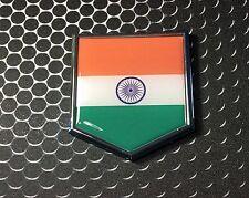 "INDIA Flag Domed CHROME Emblem Proud Flag Car 3D Sticker 2""x 2.25"""