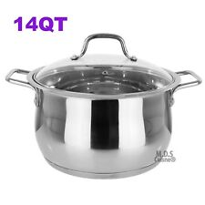 Stockpot 14 Qt Stainless Steel Commercial Tri-Ply Capsule Bottom Pot Dutch Oven